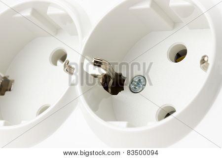 Multiple Socket Isolated On The White Background