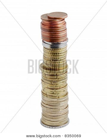 High Column Of Coins Isolated On White