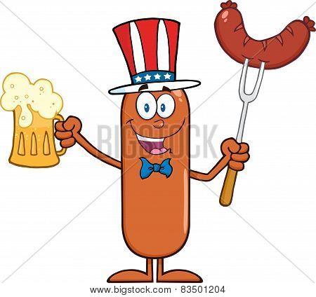 Patriotic Sausage Cartoon Character