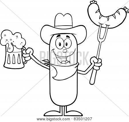 Black And White Cowboy Sausage Cartoon Character