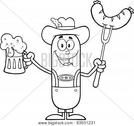 Black And White German Oktoberfest Sausage Cartoon Character