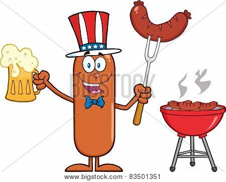 Patriotic Sausage Cartoon Character Holding A Beer And Weenie Next To BBQ