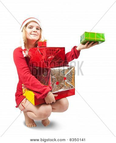 Blonde Woman Sitting With Gifts