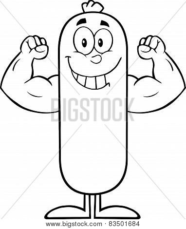 Black And White Smiling Sausage Cartoon Character Flexing