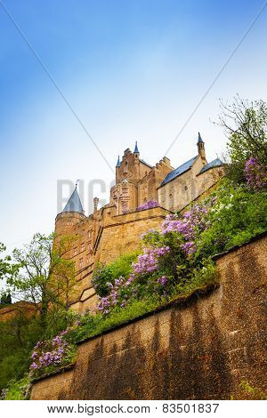 The view from below of Hohenzollern castle