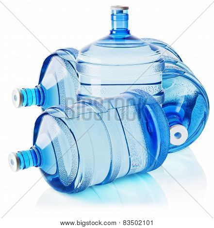 Big Bottles Of Water Isolated On The White Background