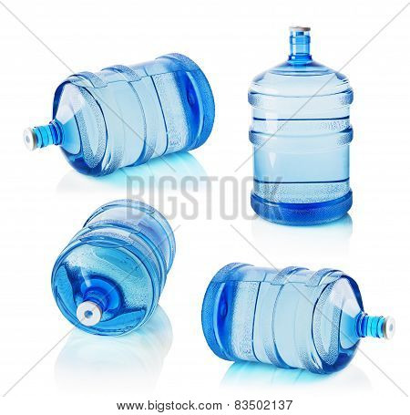 Set Of Big Bottles Of Water Isolated On The White Background