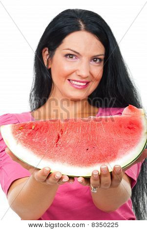 Beautiful Woman Giving Watermelon