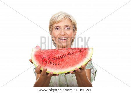 Healthy Senior Woman Holding Watermelon