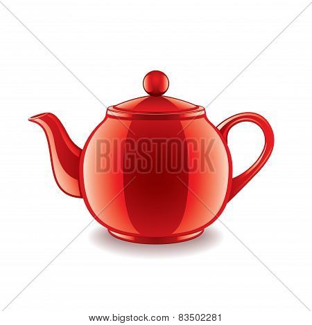 Ceramic Teapot Isolated On White Vector