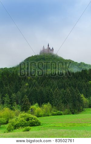 Beautiful view of forest and Hohenzollern castle