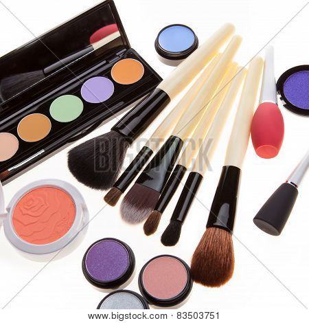 Various Cosmetics Isolated Over White