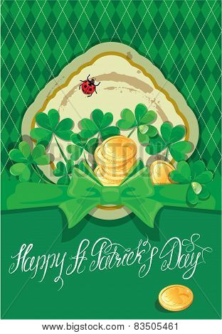 Holiday Card With Calligraphic Words Happy St. Patrick`s Day. Shamrock And Golden Coin On Dark Green