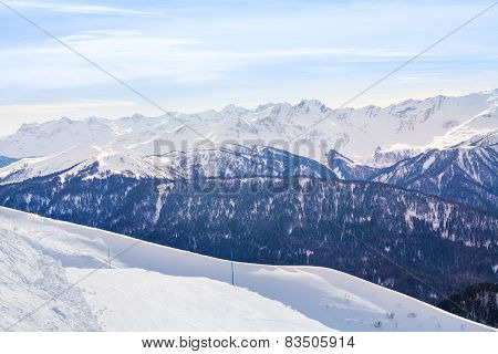 Caucasus mountains during daytime in winter, Sochi