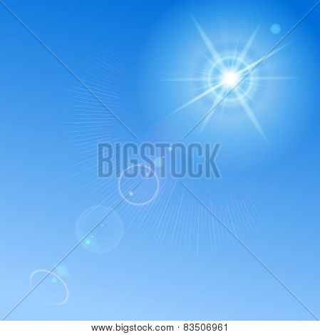 Blue Sky With Sun And Lens Flare