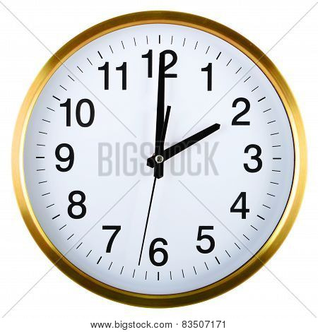 Wall Clock Isolated On White Two O'clock