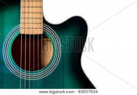 Part Of The Black And Green Acoustic Guitar, Isolated On A White
