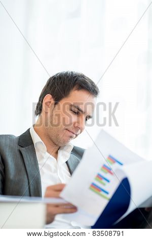 Businessman Reading An Analytical Report