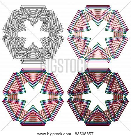 Four Circular Shapes With Triangles