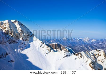 Sochi winter landscape of Caucasus mountains