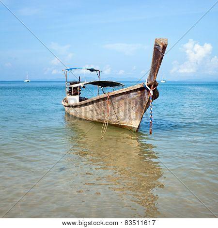Boat and Tropical beach, Andaman Sea, Thailand
