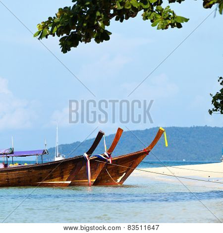 Boats and Tropical beach, Andaman Sea, Thailand