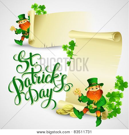 Saint Patricks day vector illustration with Leprechaun