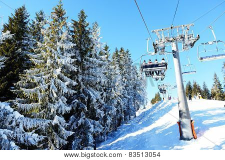 The Cableway With Tourists In Bukovel Ski Resort, Ukraine