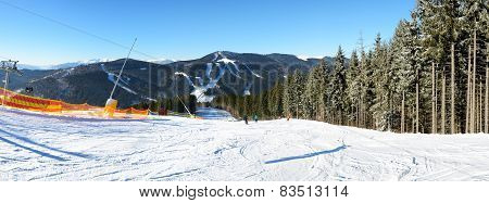 The Slope's Panorama Of Bukovel Ski Resort, Ukraine