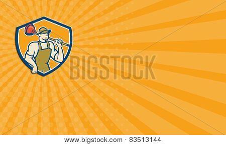Business Card Plumber Holding Plunger Cartoon