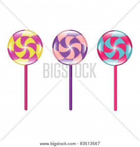 Set Of Colorful Lollipops Vector