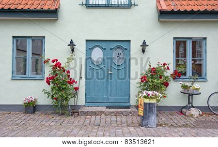 Pretty home entrance with green washed wal