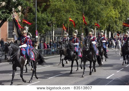 Spanish Royal Guard cavalry (Guardia Real) on the Spanish National day