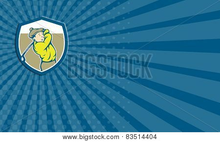 Business Card Golfer Swinging Club Shield Cartoon