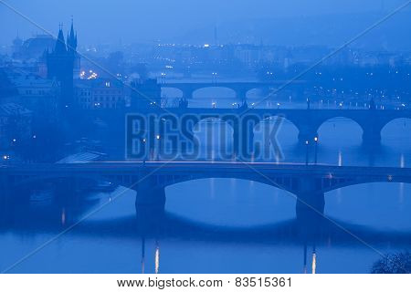 Prague, view from Letna on Charles Bridge