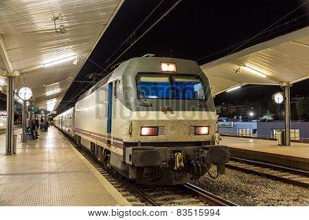 A Night Train In Girona Station - Spain