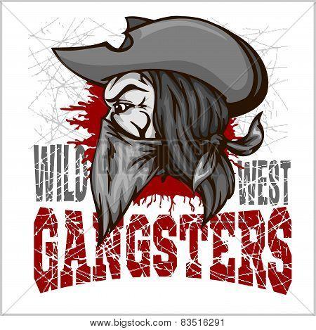 Gangster in retro scratch background