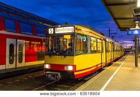 Tram-train At Karlsruhe Railway Station - Germany