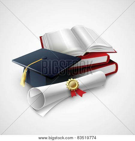 Objects for graduation ceremony. Vector illustration