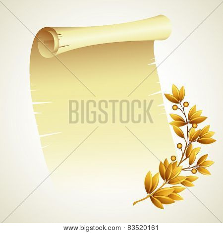 Laurel branch and a scroll. Vector illustration
