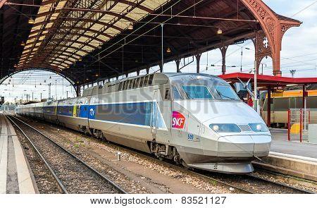 Strasbourg, France - April 14: Sncf Tgv Train At The Main Station On April 14, 2013 In Strasbourg, F