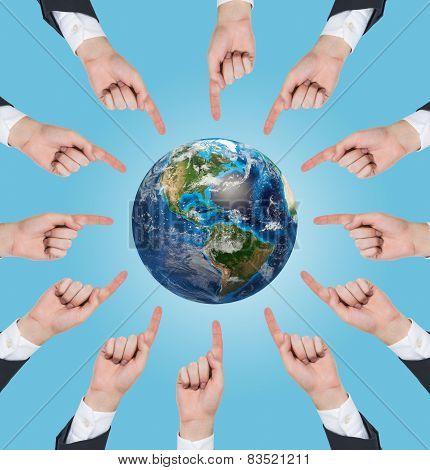 Hands Pushing At Earth
