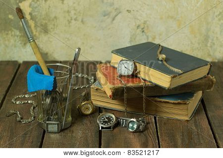 Old clock and books