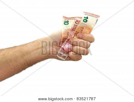 Hand tightening 10 euros banknotes isolated on white background