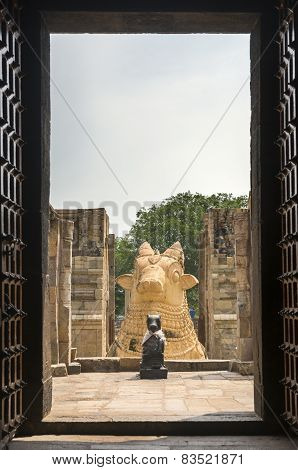 The Two Nandi Statues Seen From Inside Gangaikunda Temple.