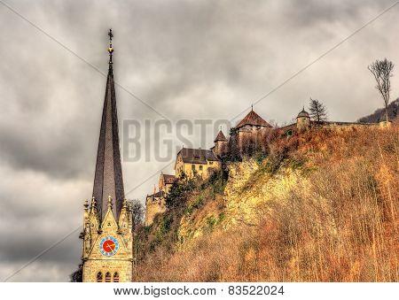 Cathedral Of St. Florin And Vaduz Castle - Liechtenstein