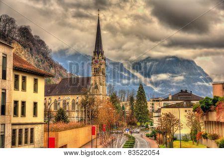 View Of Cathedral Of St. Florin In Vaduz - Liechtenstein