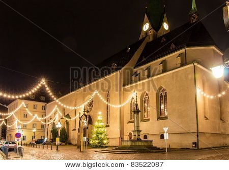 Cathedral Of St. Nicholas In Feldkirch On Christmas 2014