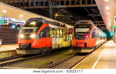 Austrian Suburban Trains At Feldkirch Station
