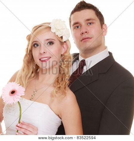 Wedding Day. Portrait Happy Couple Bride And Groom